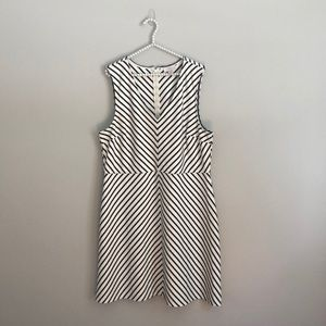 LOFT Cream and Black Striped Dress